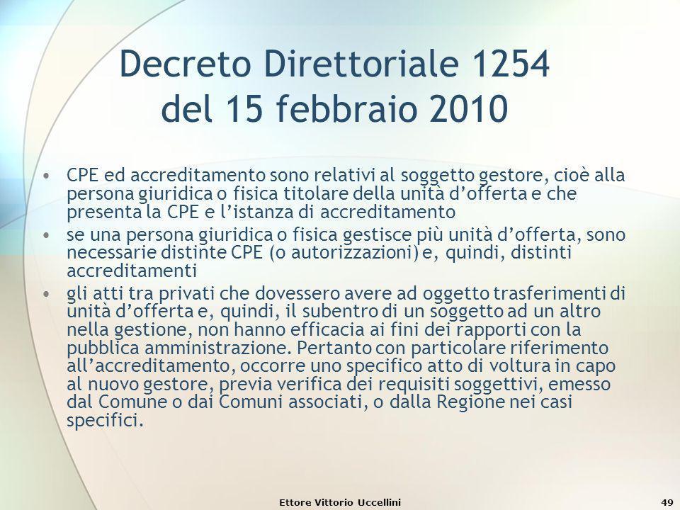 Ettore Vittorio Uccellini49 Decreto Direttoriale 1254 del 15 febbraio 2010 CPE ed accreditamento sono relativi al soggetto gestore, cioè alla persona