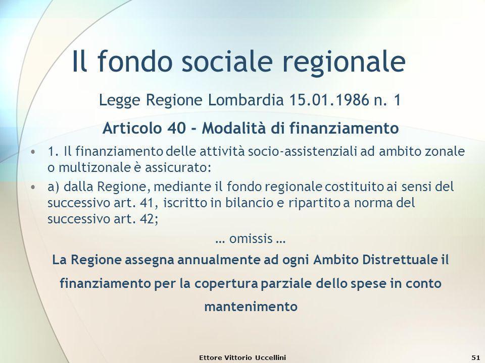 Ettore Vittorio Uccellini51 Il fondo sociale regionale Legge Regione Lombardia 15.01.1986 n. 1 Articolo 40 - Modalità di finanziamento 1. Il finanziam
