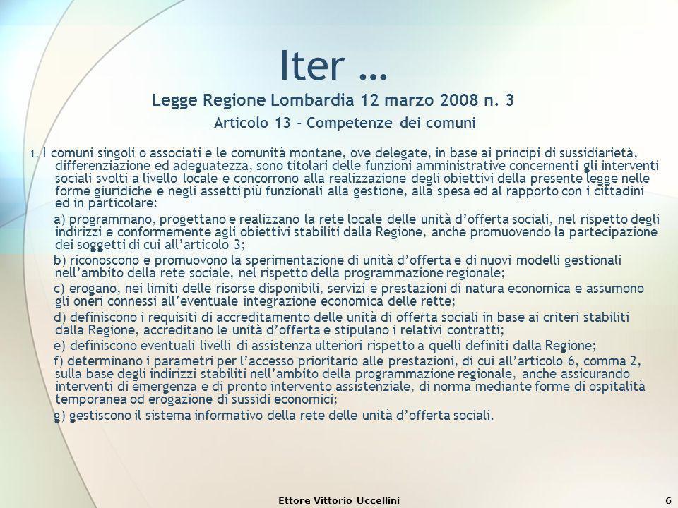 6 Iter … Legge Regione Lombardia 12 marzo 2008 n. 3 Articolo 13 - Competenze dei comuni 1. I comuni singoli o associati e le comunità montane, ove del