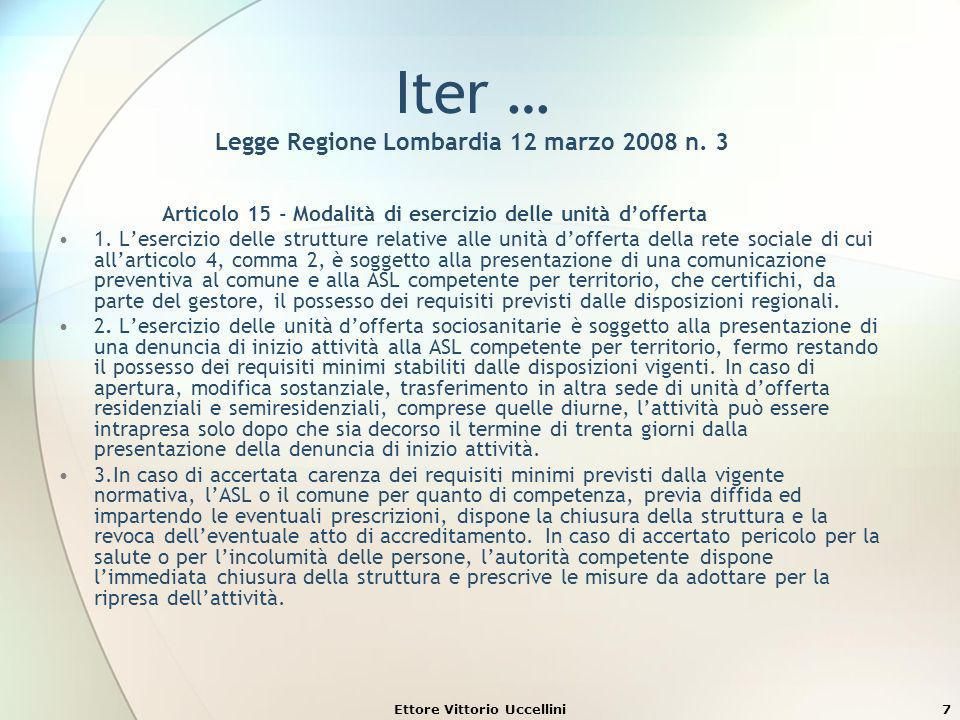 Ettore Vittorio Uccellini7 Iter … Legge Regione Lombardia 12 marzo 2008 n. 3 Articolo 15 - Modalità di esercizio delle unità dofferta 1. Lesercizio de