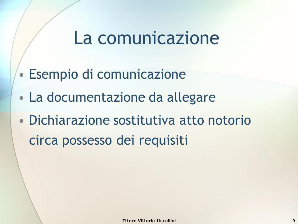 La comunicazione Esempio di comunicazione La documentazione da allegare Dichiarazione sostitutiva atto notorio circa possesso dei requisiti Ettore Vit