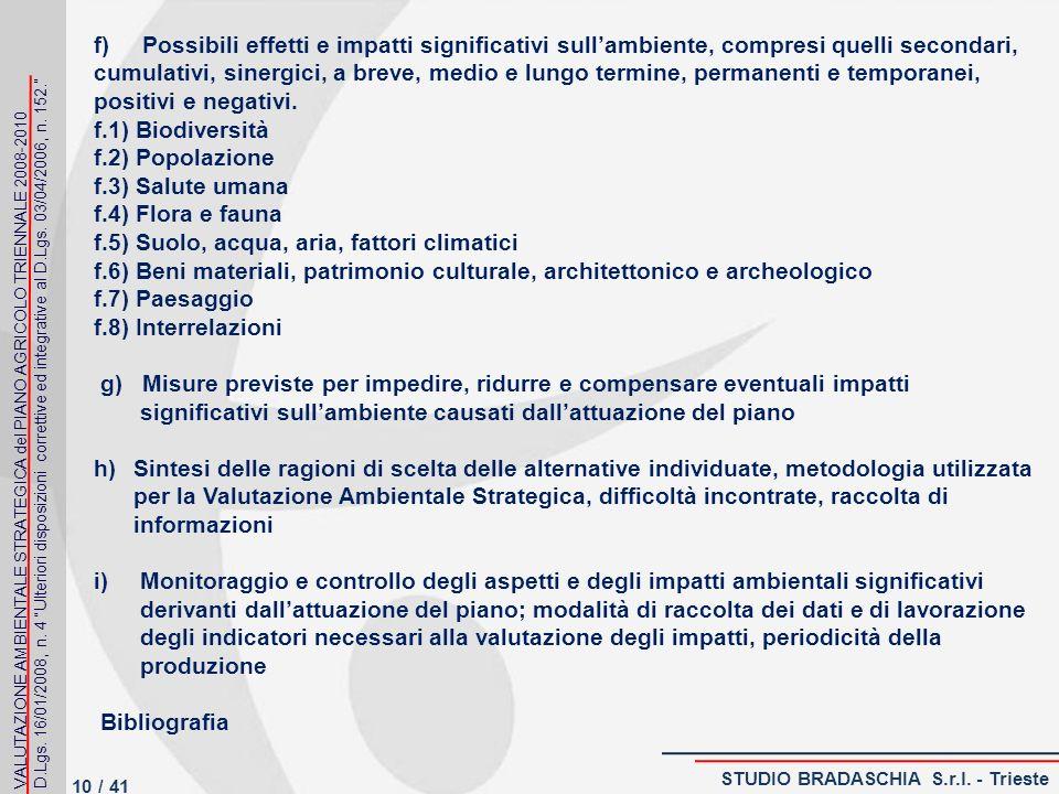 f) Possibili effetti e impatti significativi sullambiente, compresi quelli secondari, cumulativi, sinergici, a breve, medio e lungo termine, permanenti e temporanei, positivi e negativi.