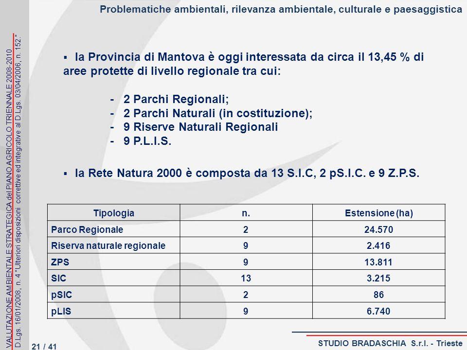 Problematiche ambientali, rilevanza ambientale, culturale e paesaggistica la Provincia di Mantova è oggi interessata da circa il 13,45 % di aree protette di livello regionale tra cui: - 2 Parchi Regionali; - 2 Parchi Naturali (in costituzione); - 9 Riserve Naturali Regionali - 9 P.L.I.S.