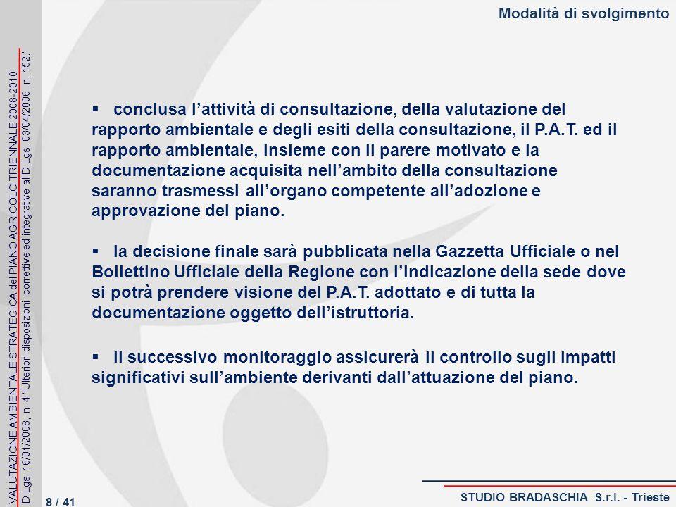 Modalità di svolgimento conclusa lattività di consultazione, della valutazione del rapporto ambientale e degli esiti della consultazione, il P.A.T.