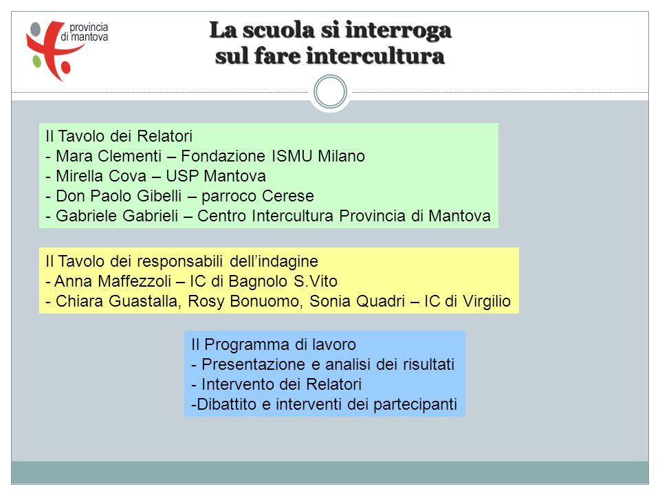 La scuola si interroga sul fare intercultura Il Tavolo dei Relatori - Mara Clementi – Fondazione ISMU Milano - Mirella Cova – USP Mantova - Don Paolo