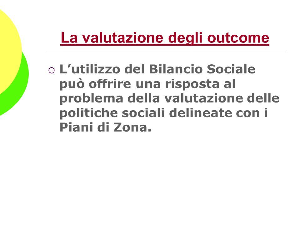 La valutazione degli outcome Lutilizzo del Bilancio Sociale può offrire una risposta al problema della valutazione delle politiche sociali delineate c