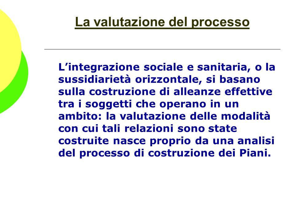 La valutazione del processo Lintegrazione sociale e sanitaria, o la sussidiarietà orizzontale, si basano sulla costruzione di alleanze effettive tra i