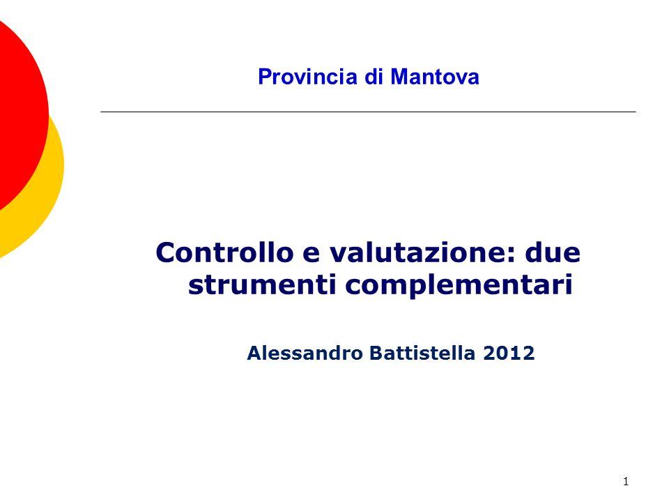 1 Provincia di Mantova Controllo e valutazione: due strumenti complementari Alessandro Battistella 2012