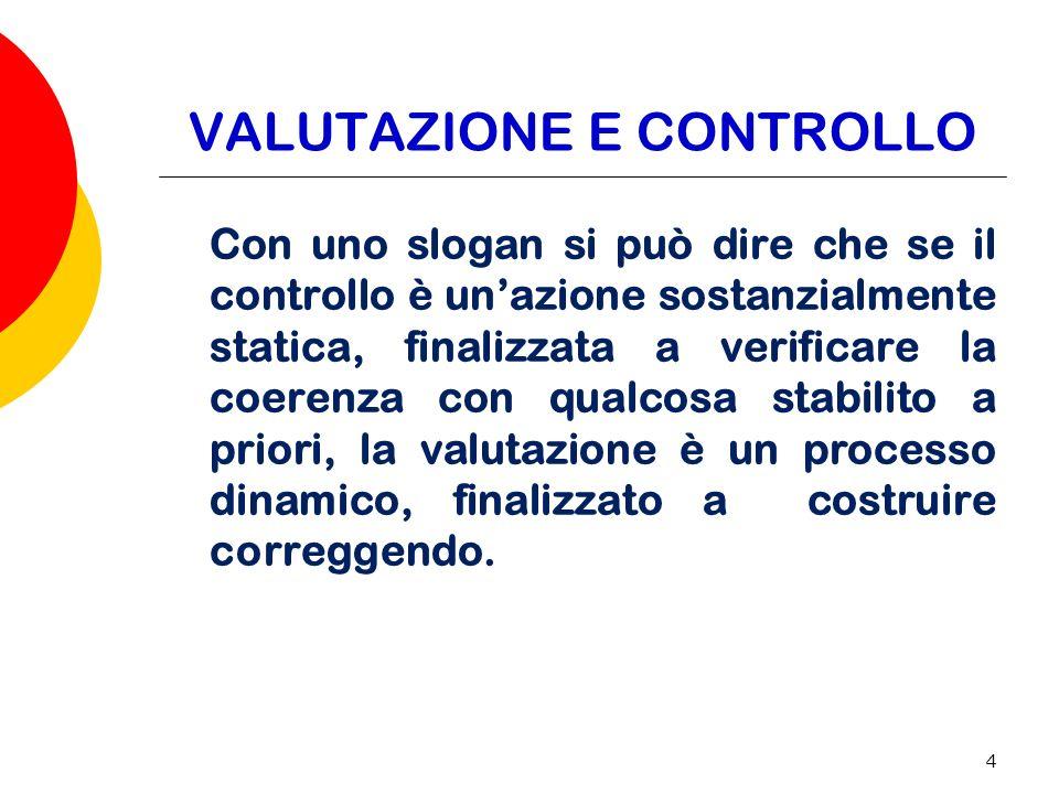 4 VALUTAZIONE E CONTROLLO Con uno slogan si può dire che se il controllo è unazione sostanzialmente statica, finalizzata a verificare la coerenza con qualcosa stabilito a priori, la valutazione è un processo dinamico, finalizzato a costruire correggendo.