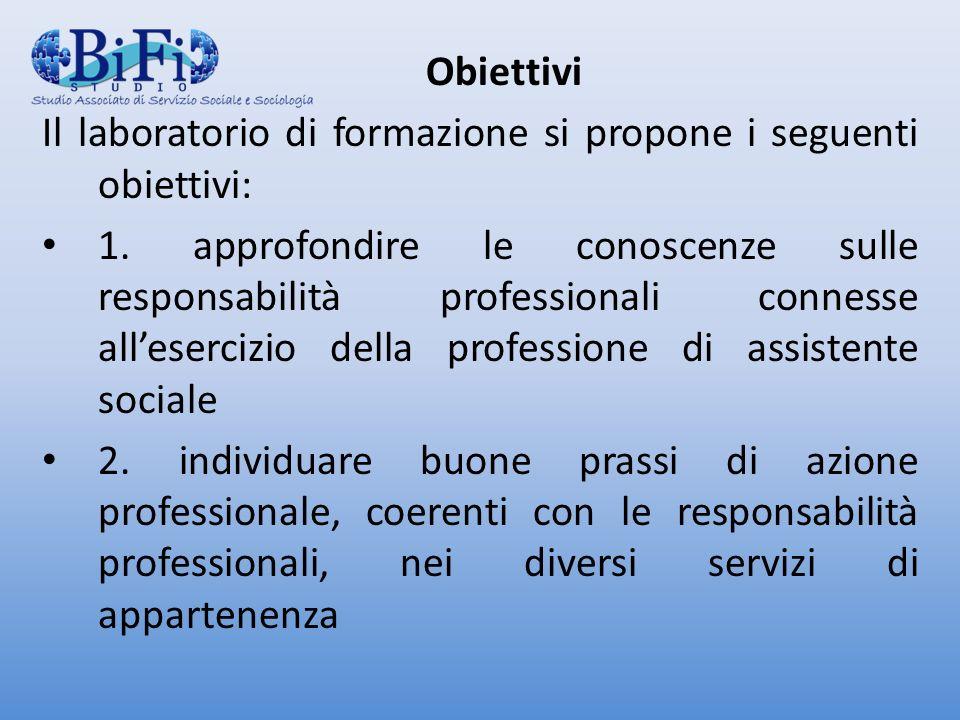 Obiettivi Il laboratorio di formazione si propone i seguenti obiettivi: 1.