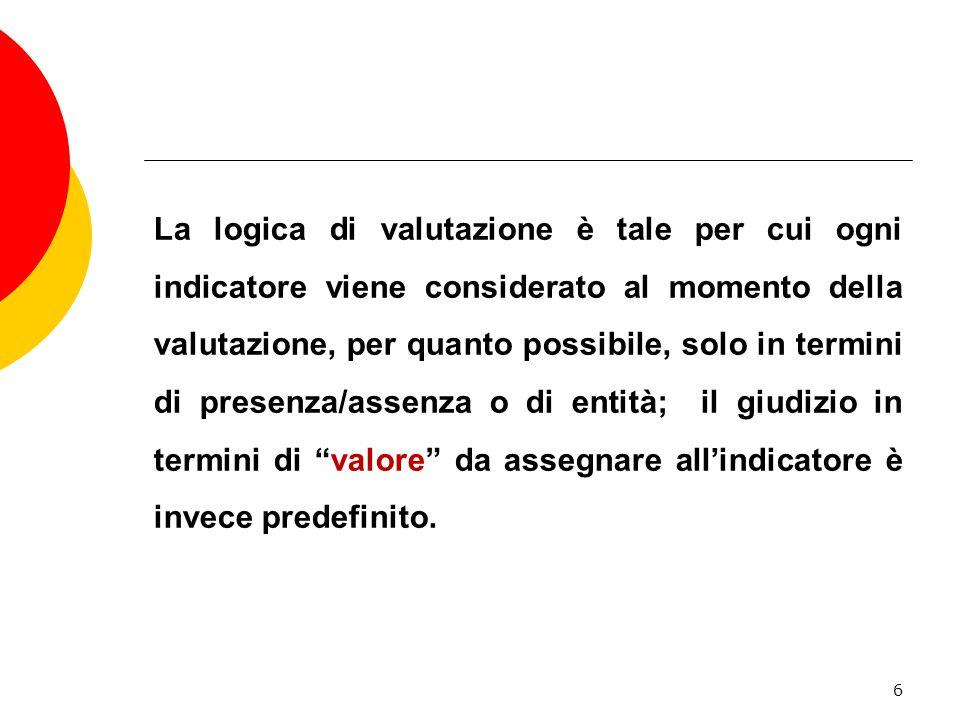 La logica di valutazione è tale per cui ogni indicatore viene considerato al momento della valutazione, per quanto possibile, solo in termini di presenza/assenza o di entità; il giudizio in termini di valore da assegnare allindicatore è invece predefinito.