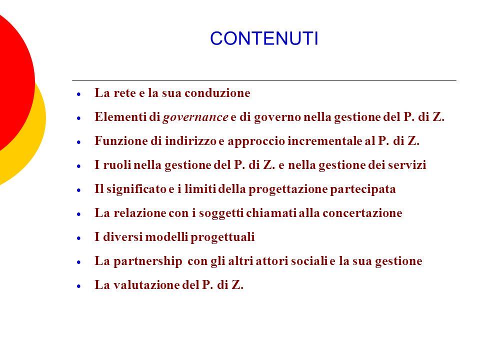 CONTENUTI La rete e la sua conduzione Elementi di governance e di governo nella gestione del P. di Z. Funzione di indirizzo e approccio incrementale a