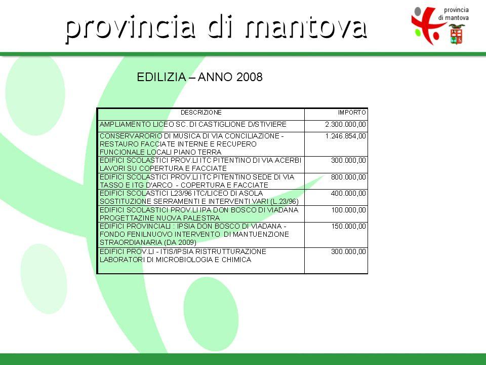 provincia di mantova EDILIZIA – ANNO 2008
