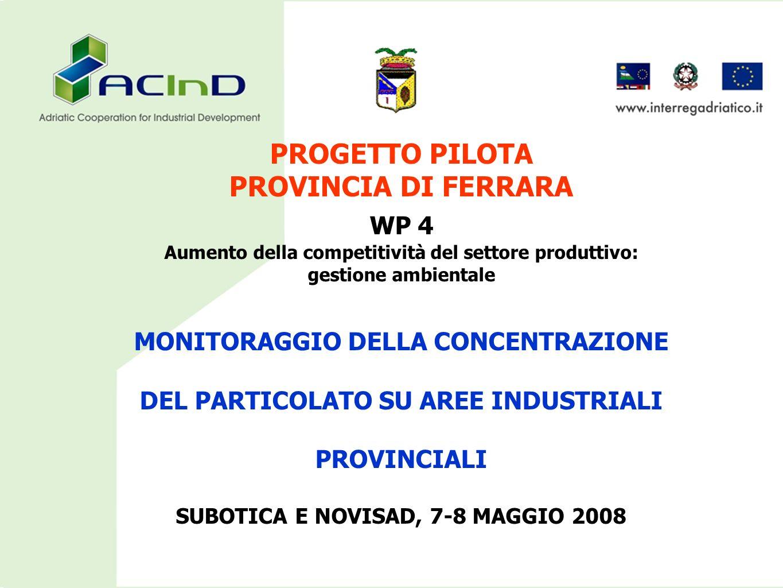 PROGETTO PILOTA PROVINCIA DI FERRARA WP 4 Aumento della competitività del settore produttivo: gestione ambientale MONITORAGGIO DELLA CONCENTRAZIONE DE