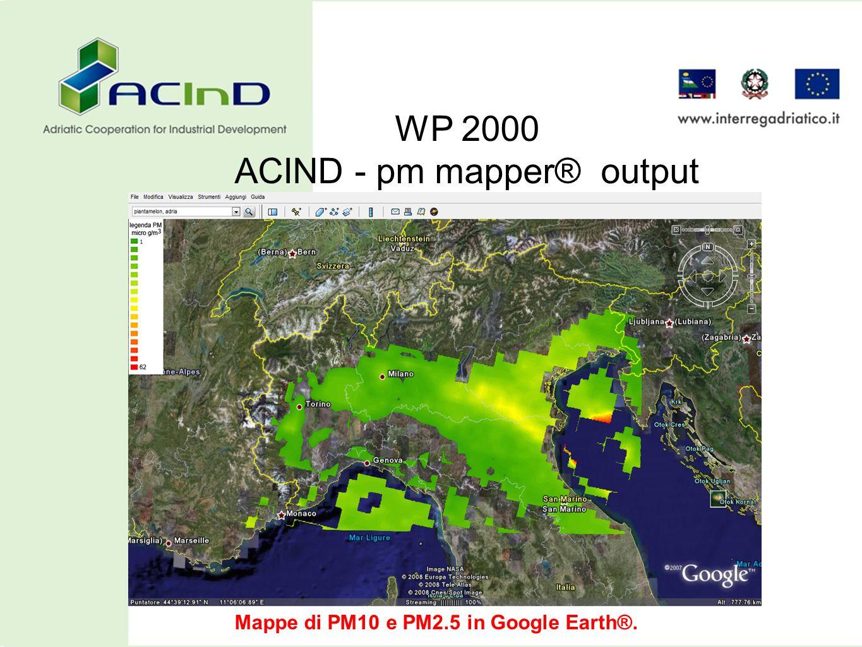 WP 2000 ACIND - pm mapper® output Mappe di PM10 e PM2.5 in Google Earth®.