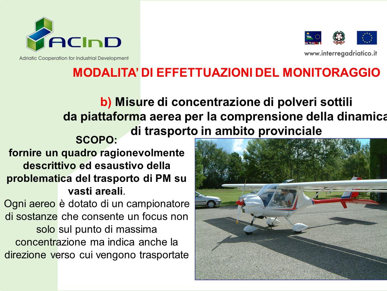 MODALITA DI EFFETTUAZIONI DEL MONITORAGGIO b) Misure di concentrazione di polveri sottili da piattaforma aerea per la comprensione della dinamica di t