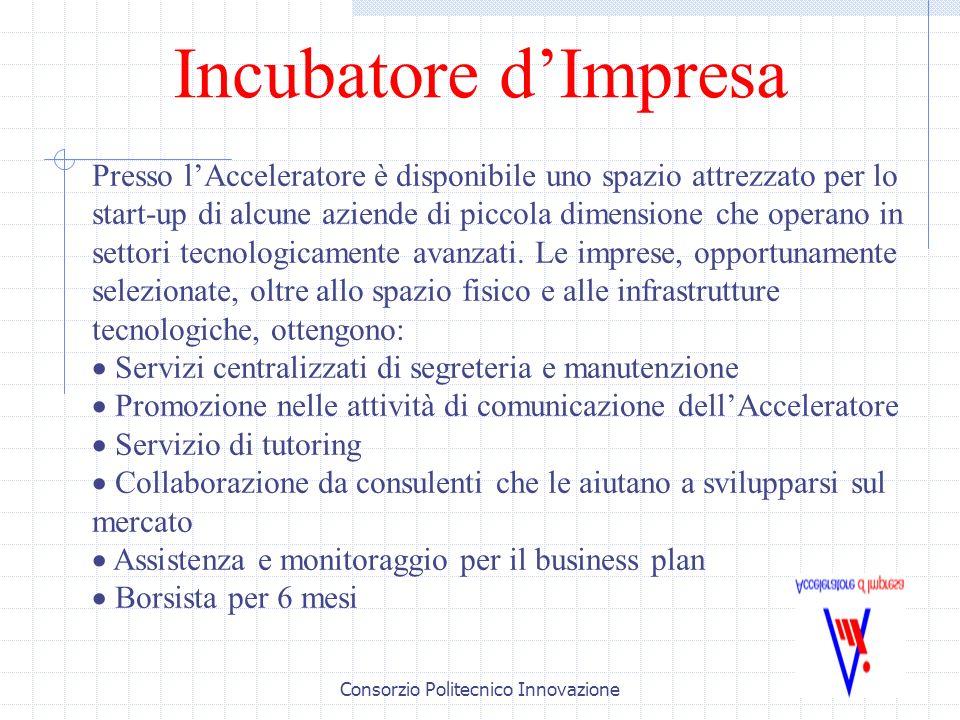 Consorzio Politecnico Innovazione Incubatore dImpresa Presso lAcceleratore è disponibile uno spazio attrezzato per lo start-up di alcune aziende di piccola dimensione che operano in settori tecnologicamente avanzati.