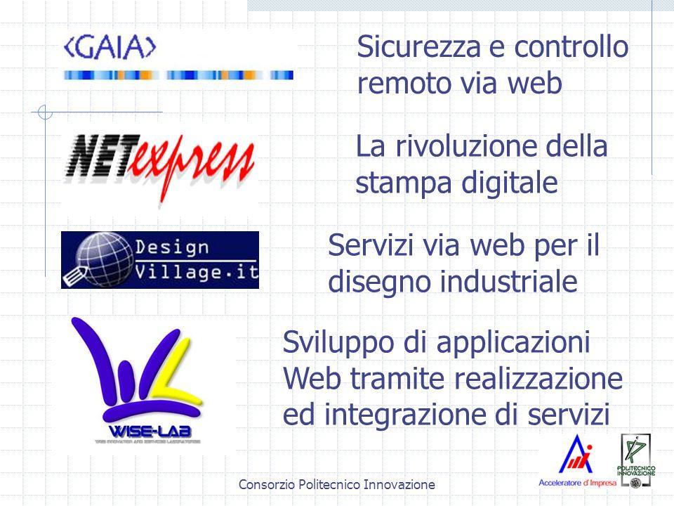 Consorzio Politecnico Innovazione Sicurezza e controllo remoto via web Sviluppo di applicazioni Web tramite realizzazione ed integrazione di servizi La rivoluzione della stampa digitale Servizi via web per il disegno industriale