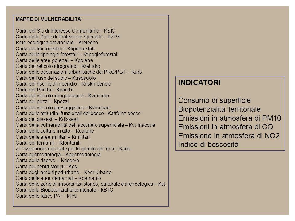 MAPPE DI VULNERABILITA Carta dei Siti di Interesse Comunitario – KSIC Carta delle Zone di Protezione Speciale – KZPS Rete ecologica provinciale – Kret