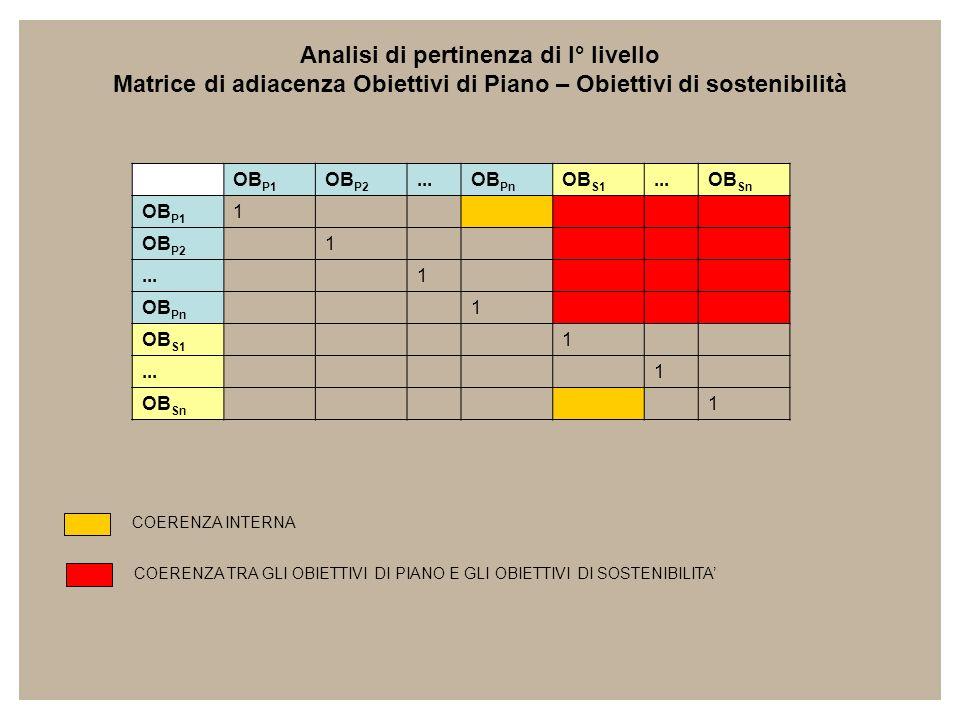 OB P1 OB P2...OB Pn OB S1...OB Sn OB P1 1 OB P2 1...1 OB Pn 1 OB S1 1...1 OB Sn 1 Analisi di pertinenza di I° livello Matrice di adiacenza Obiettivi d