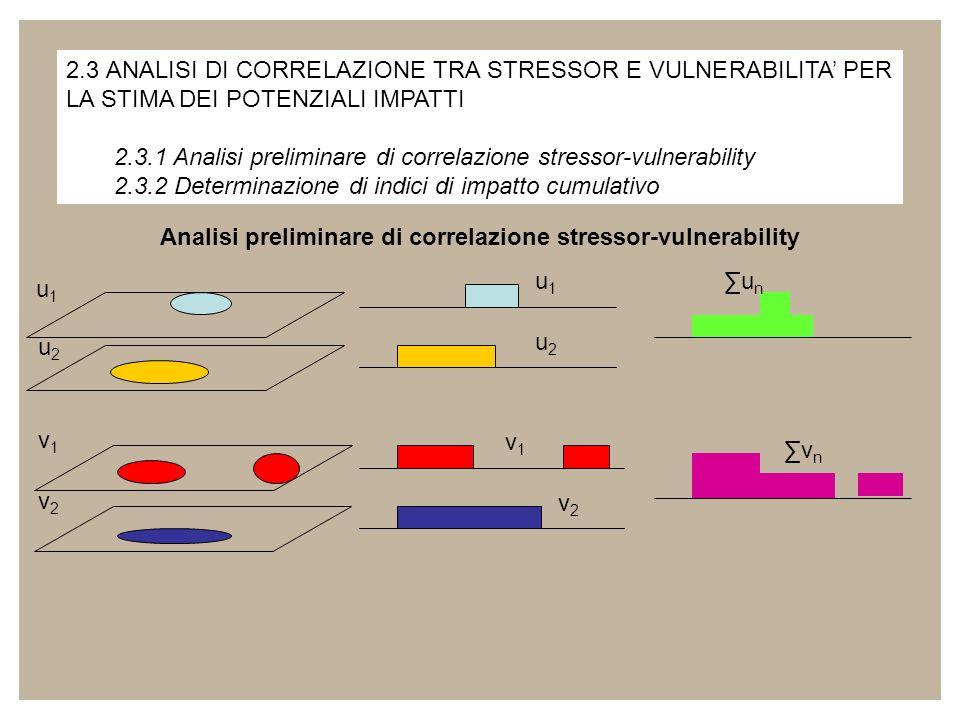 2.3 ANALISI DI CORRELAZIONE TRA STRESSOR E VULNERABILITA PER LA STIMA DEI POTENZIALI IMPATTI 2.3.1 Analisi preliminare di correlazione stressor-vulner