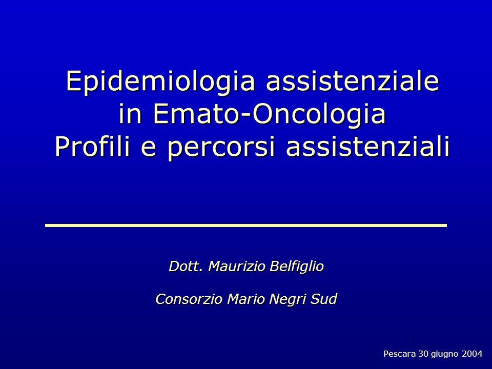 Pescara 30 giugno 2004 Epidemiologia assistenziale in Emato-Oncologia Profili e percorsi assistenziali Dott.