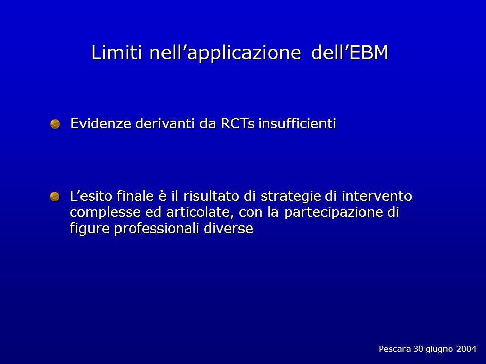 Pescara 30 giugno 2004 Limiti nellapplicazione dellEBM Evidenze derivanti da RCTs insufficienti Lesito finale è il risultato di strategie di intervento complesse ed articolate, con la partecipazione di figure professionali diverse