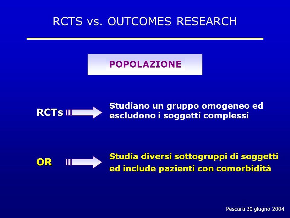 Pescara 30 giugno 2004 Studiano un gruppo omogeneo ed escludono i soggetti complessi Studia diversi sottogruppi di soggetti ed include pazienti con comorbidità RCTs OR RCTS vs.