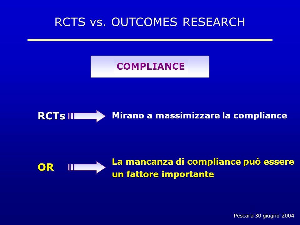 Pescara 30 giugno 2004 Mirano a massimizzare la compliance La mancanza di compliance può essere un fattore importante COMPLIANCE RCTS vs.