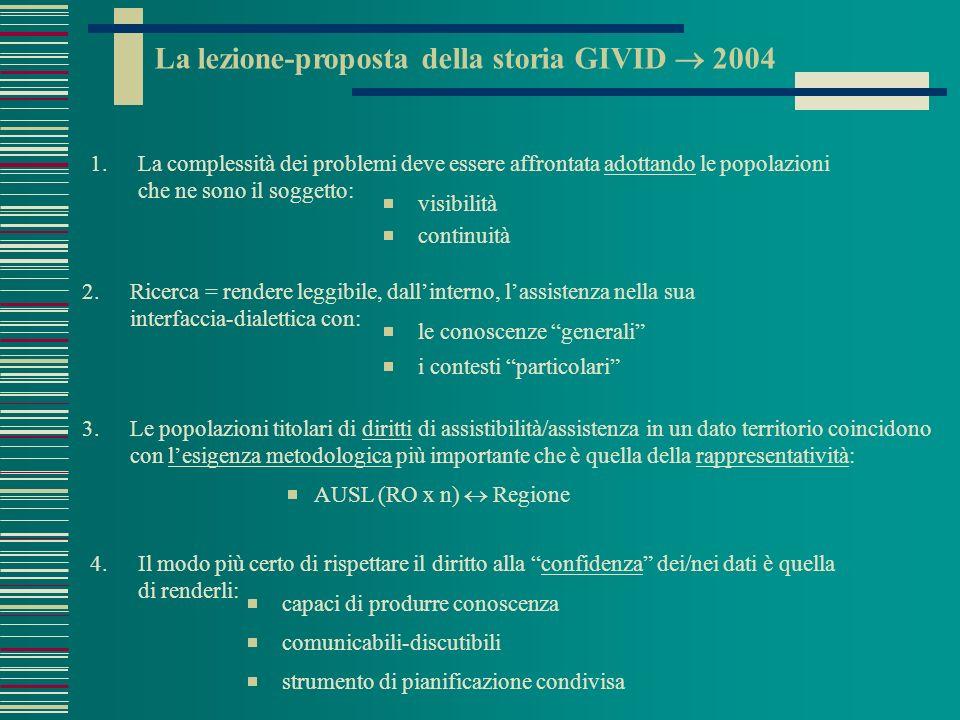 Parole-impegni per RO Veneto 2005 1.Linkage (=capacità di raccontare storie assistenziali) come normalità amministrativa.