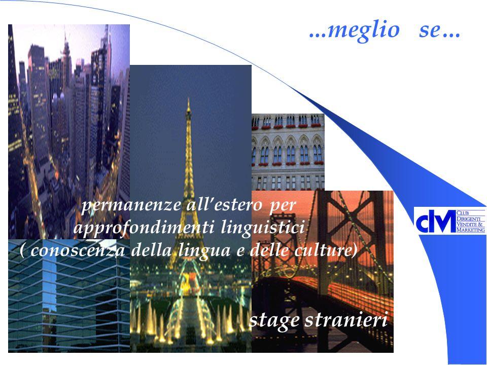 ...meglio se… permanenze allestero per approfondimenti linguistici ( conoscenza della lingua e delle culture) stage stranieri