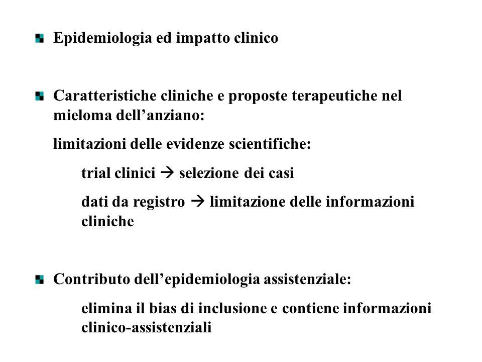 Epidemiologia ed impatto clinico Caratteristiche cliniche e proposte terapeutiche nel mieloma dellanziano: limitazioni delle evidenze scientifiche: tr