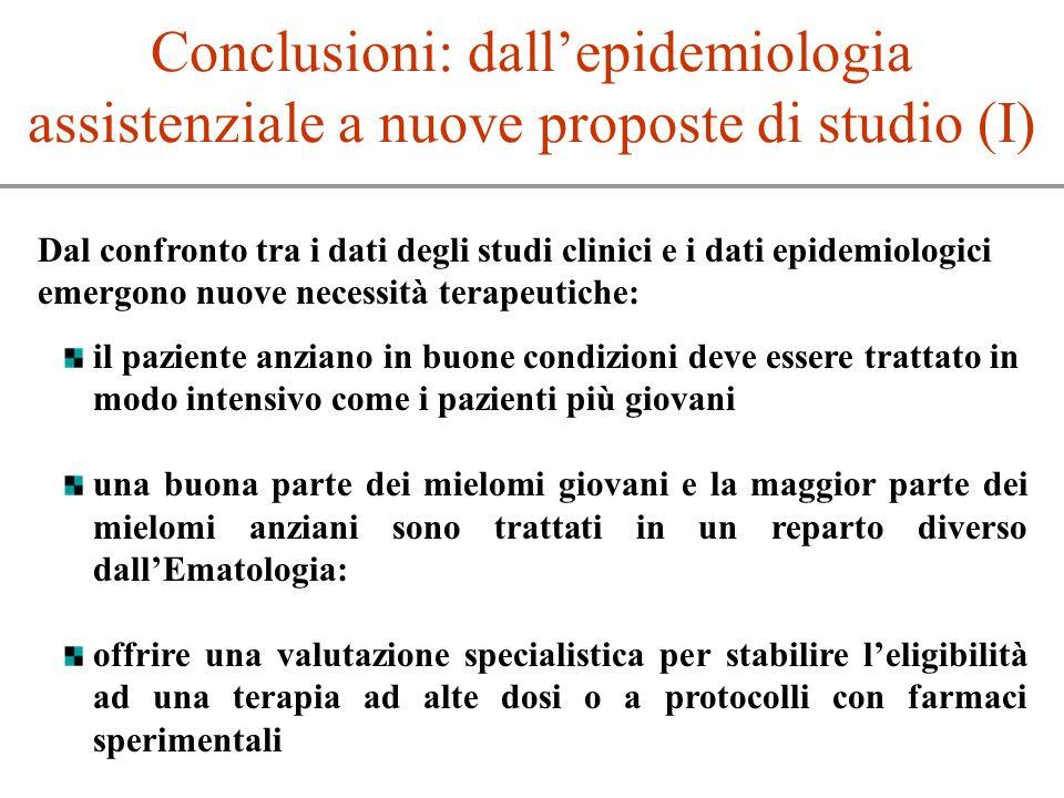 Conclusioni: dallepidemiologia assistenziale a nuove proposte di studio (I) Dal confronto tra i dati degli studi clinici e i dati epidemiologici emerg