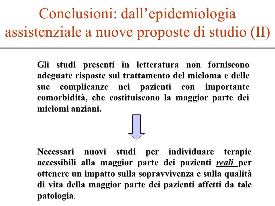 Gli studi presenti in letteratura non forniscono adeguate risposte sul trattamento del mieloma e delle sue complicanze nei pazienti con importante com
