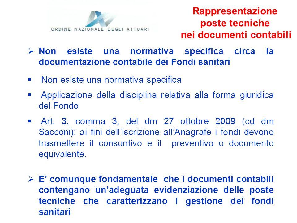 Rappresentazione poste tecniche nei documenti contabili Non esiste una normativa specifica circa la documentazione contabile dei Fondi sanitari Non es