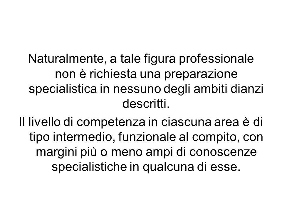 Naturalmente, a tale figura professionale non è richiesta una preparazione specialistica in nessuno degli ambiti dianzi descritti.