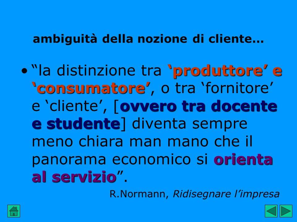 ambiguità della nozione di cliente... la distinzione tra produttore e consumatore consumatore, o tra fornitore e cliente, ovvero [ovvero tra docente e