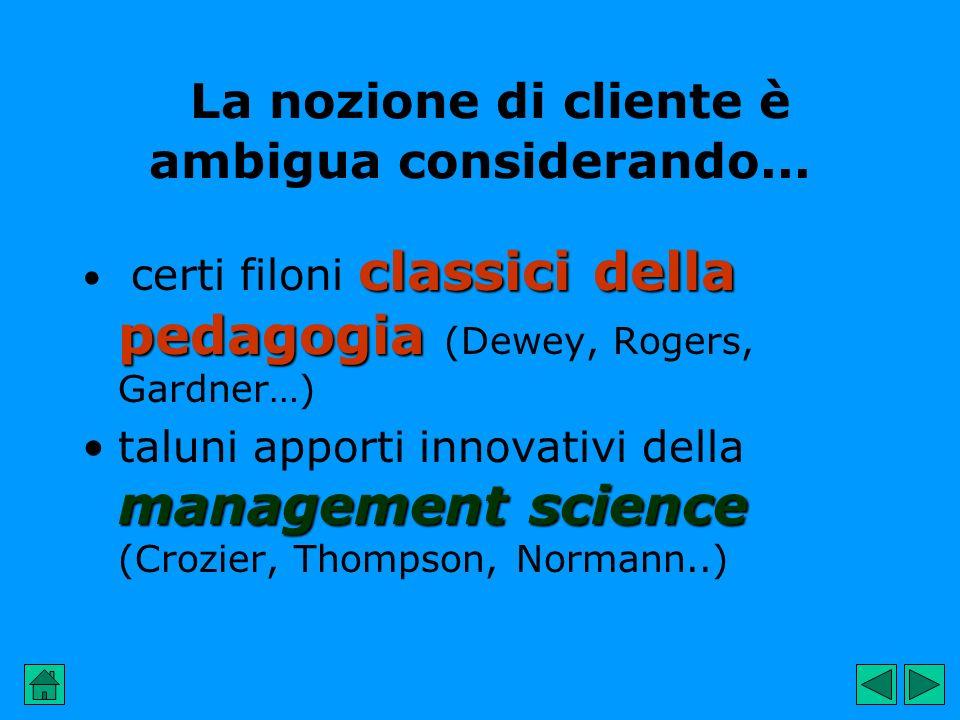 classici della pedagogia certi filoni classici della pedagogia (Dewey, Rogers, Gardner…) management sciencetaluni apporti innovativi della management