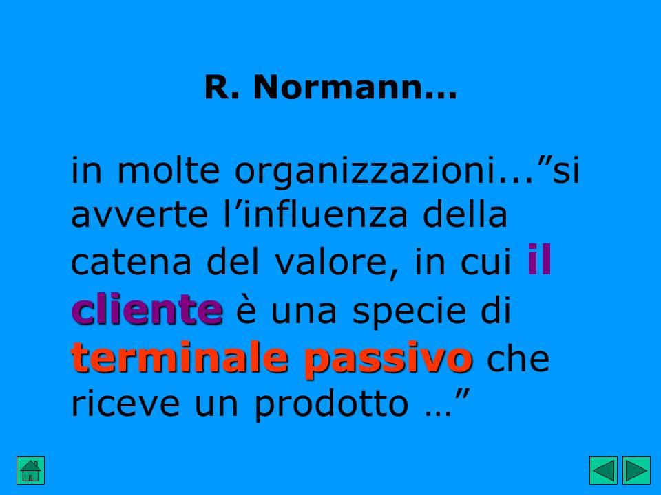 R. Normann... cliente terminale passivo in molte organizzazioni...si avverte linfluenza della catena del valore, in cui il cliente è una specie di ter