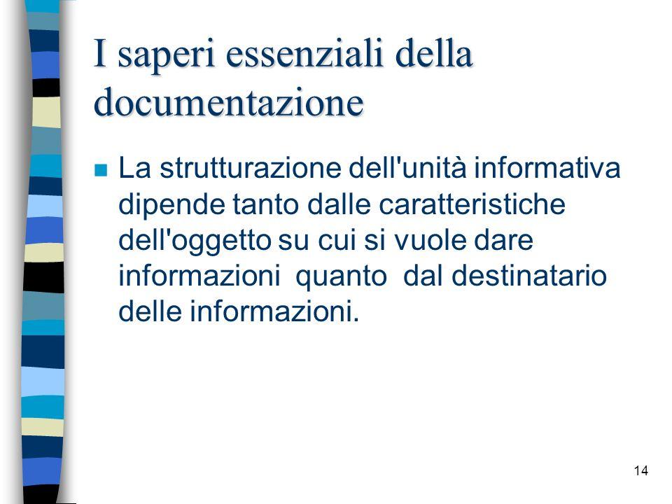14 I saperi essenziali della documentazione n La strutturazione dell'unità informativa dipende tanto dalle caratteristiche dell'oggetto su cui si vuol