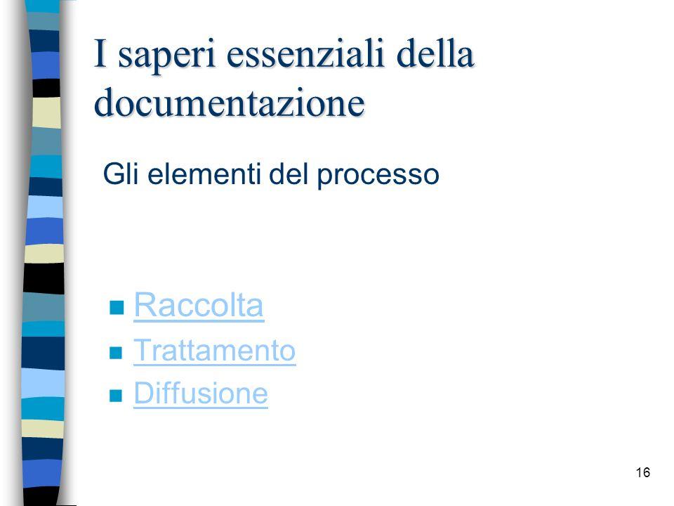 16 I saperi essenziali della documentazione n Raccolta Raccolta n Trattamento Trattamento n Diffusione Diffusione Gli elementi del processo