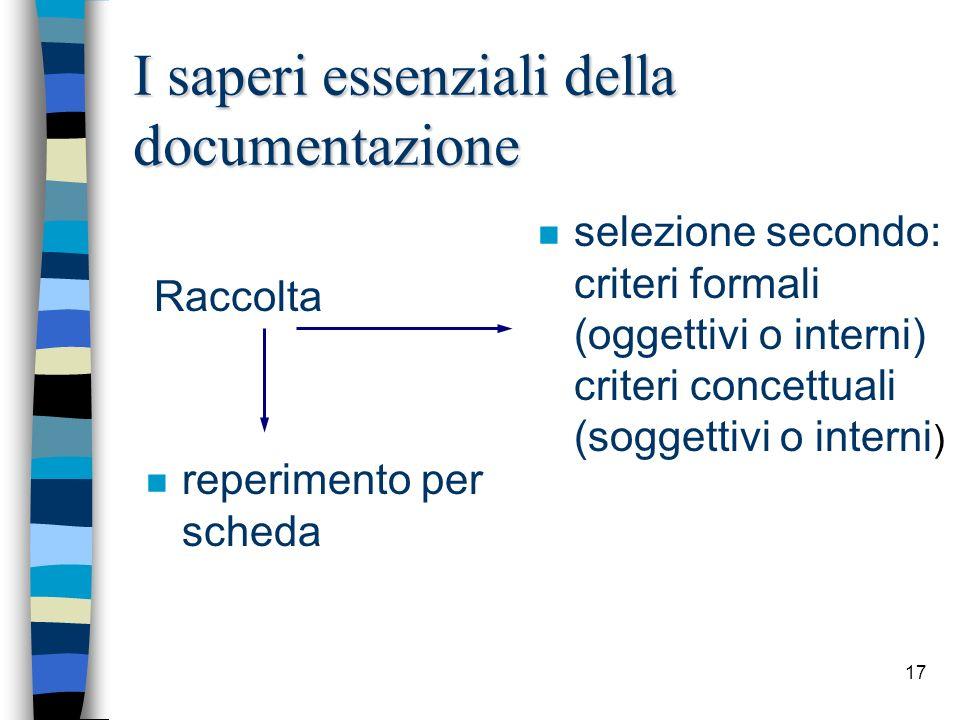17 I saperi essenziali della documentazione n reperimento per scheda n selezione secondo: criteri formali (oggettivi o interni) criteri concettuali (s