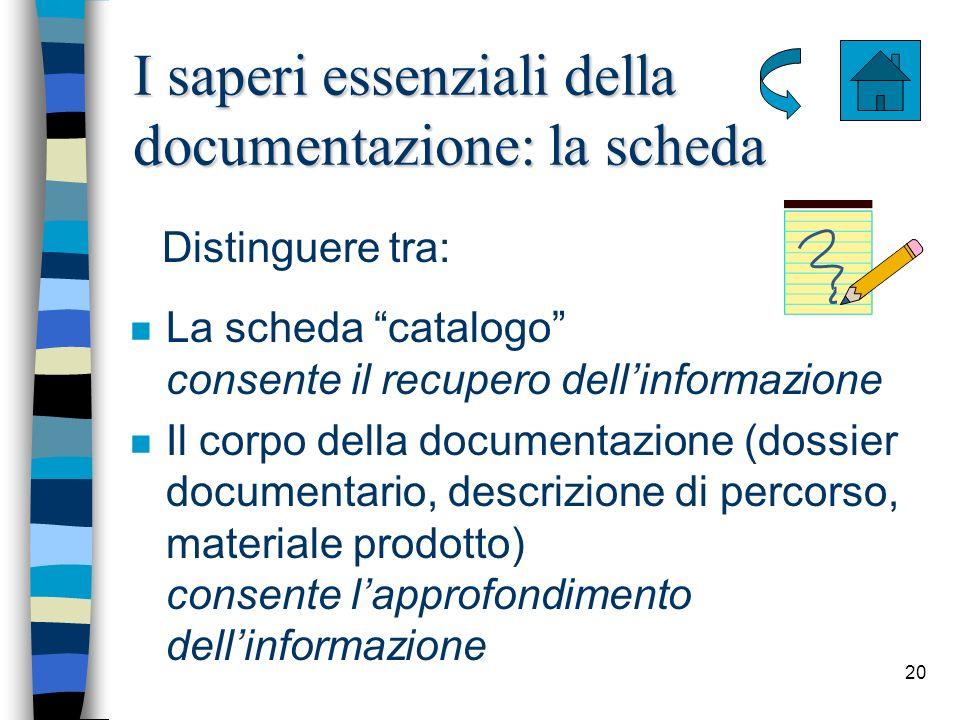 20 I saperi essenziali della documentazione: la scheda n La scheda catalogo consente il recupero dellinformazione n Il corpo della documentazione (dos