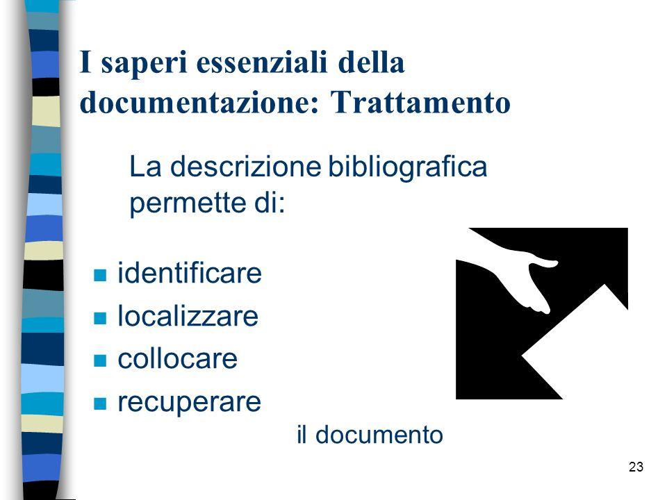 23 I saperi essenziali della documentazione: Trattamento La descrizione bibliografica permette di: n identificare n localizzare n collocare n recupera