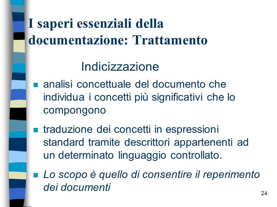24 I saperi essenziali della documentazione: Trattamento n analisi concettuale del documento che individua i concetti più significativi che lo compong