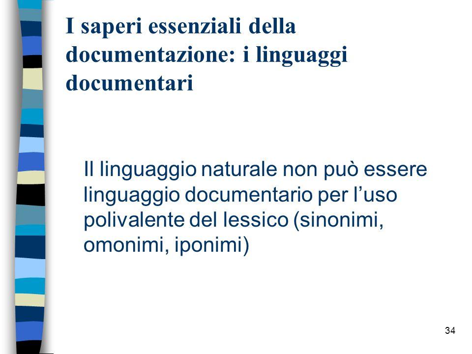 34 I saperi essenziali della documentazione: i linguaggi documentari Il linguaggio naturale non può essere linguaggio documentario per luso polivalent