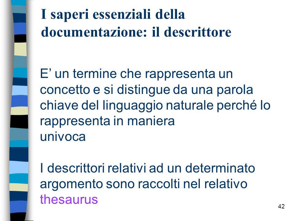 42 I saperi essenziali della documentazione: il descrittore E un termine che rappresenta un concetto e si distingue da una parola chiave del linguaggi