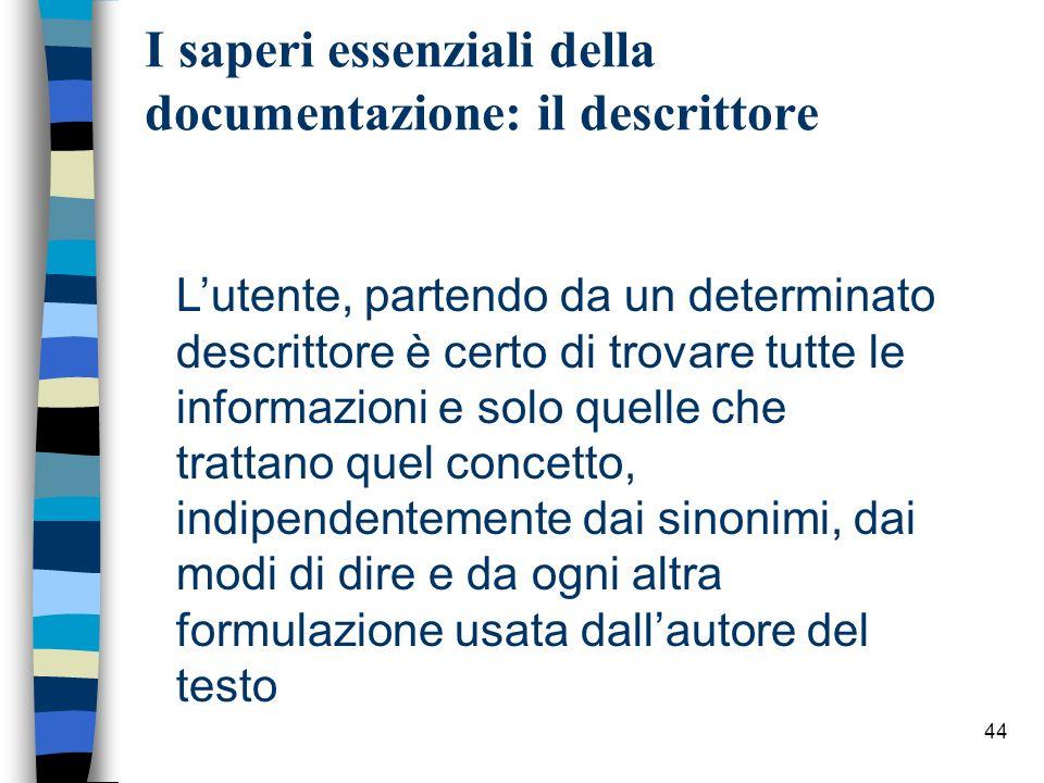 44 I saperi essenziali della documentazione: il descrittore Lutente, partendo da un determinato descrittore è certo di trovare tutte le informazioni e