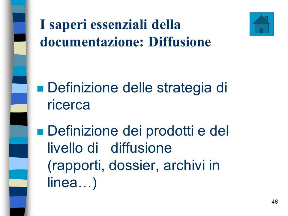 46 I saperi essenziali della documentazione: Diffusione n Definizione delle strategia di ricerca n Definizione dei prodotti e del livello di diffusion