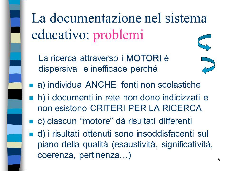 5 La documentazione nel sistema educativo: problemi n a) individua ANCHE fonti non scolastiche n b) i documenti in rete non dono indicizzati e non esi